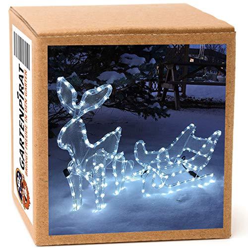 Gartenpirat Renna con slitta 3D tubo luminoso LED luce bianca fredda esterni