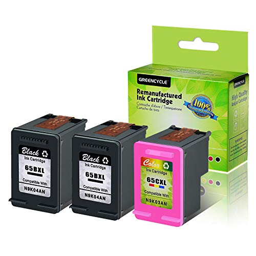 GREENCYCLE Re-Manufactured 65XL 65BXL 65CXL Ink Cartridge Compatible for HP Envy 5058 5055 5052 Deskjet 2622 2655 3758 3730 3752 Laser Printer, with New Version chip (Black 2 Pack, Tir-Color 1 Pack)