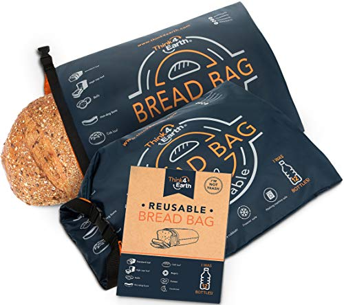 Reusable Bread Bag for Homemade Bread, Large Bread Bags For Homemade Bread - Freezer Bread Bags For Bread Loaves with Double Lining - Bread Bags BPA Free - Bakery Supplies for Packaging (2 Pack)