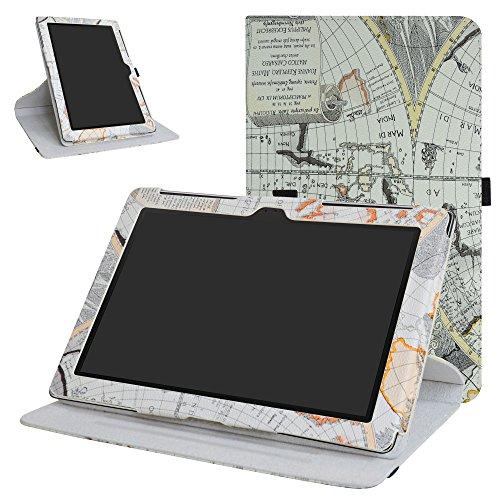 """MAMA MOUTH ASUS ZenPad 10 Z300CG Rotante Custodia, Rotante a 360° Custodia in PU di Cuoio Pelle Caso Case per 10.1"""" ASUS ZenPad 10 Z300C Z300CG Z300CL Android Tablet,Map"""