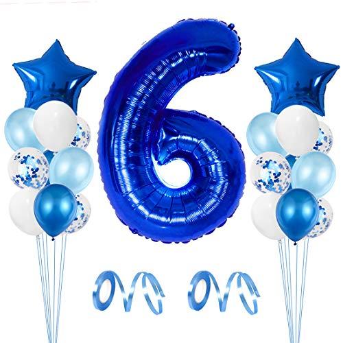 Globos Fiesta Cumpleaños Niño, Globos Numeros 6, Kit Globos Cumpleaños con Azul Blanco Latex Globo, Confeti Ballon, Estrella Ballon, Cinta de Globo