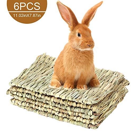 MEWTOGO 6 Pack 11 × 8 inches Grass Bunny Mat- Natural Straw Woven Grass Mat Rabbit Bunny Mat Chew...