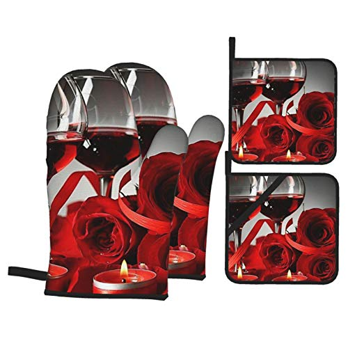 Red Rose Wine Glass and Candle Oven Mitts and Pot Holders Sets ,Heat Resistant Kitchen Microwave Gloves for Safe BBQ Cooking Baking Grilling (4-Piece Set)