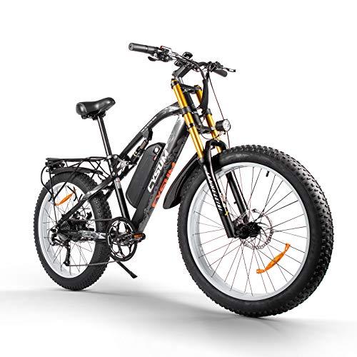 cysum Bicicletas eléctricas para Hombres, Fat Tire Ebikes de 26 Pulgadas Bicicletas Todo Terreno, Bicicleta de montaña para Adultos con 48V 17Ah Batería de Litio extraíble (White)