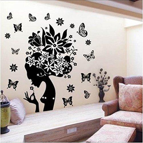 Vovotrade® Jolie Fleur Fée Papillon Fille PVC Wall Sticker Home Decor Stickers