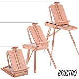 Brustro Artists' Studio Portable Wooden Box French Easel, Holds Canvases Upto 33'.