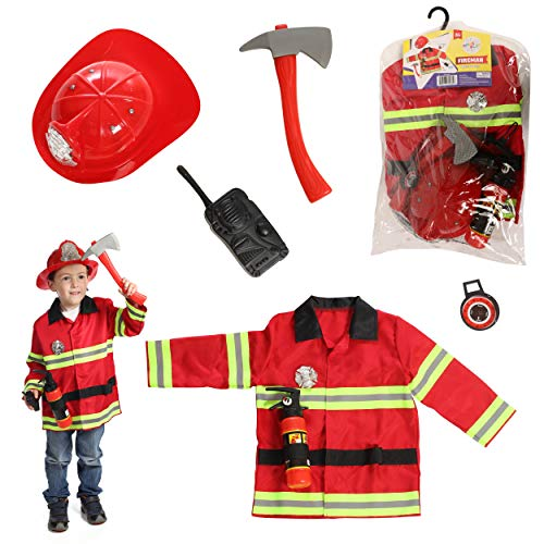 DRESS 2 PLAY Firefighter Pretend Costume, Dress up Set with Accessories; 5 Pcs Included