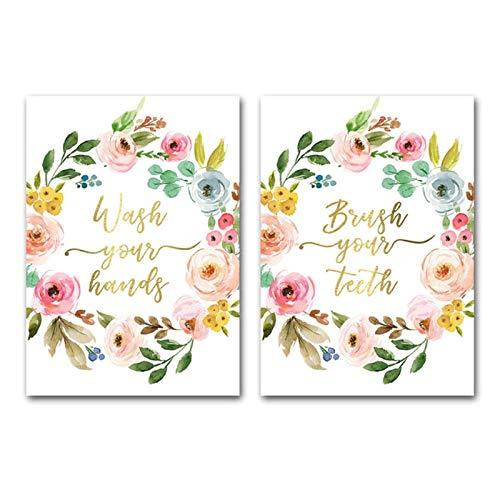 MULMF Was uw handen citaten canvas schilderij muurkunst moderne grappige toiletbrievenposter afdrukken bloemenwand afbeeldingen voor badkamer- 60X80Cmx2 niet-ingelijst