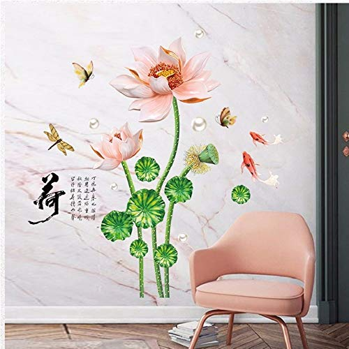 Muursticker China Vintage Lotus Wall Stickers voor La Sala Studio Home Sofa Decoratie vliegtuig Pastrol muurschildering Wallposters DIY bevordering