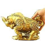 Figura de toro de latón, estatuas para decoración del hogar, toro de wall street, hecho a mano, decoración de mesa coleccionable, estatuas de figuras de buey representan buena suerte,Oro,19*13cm