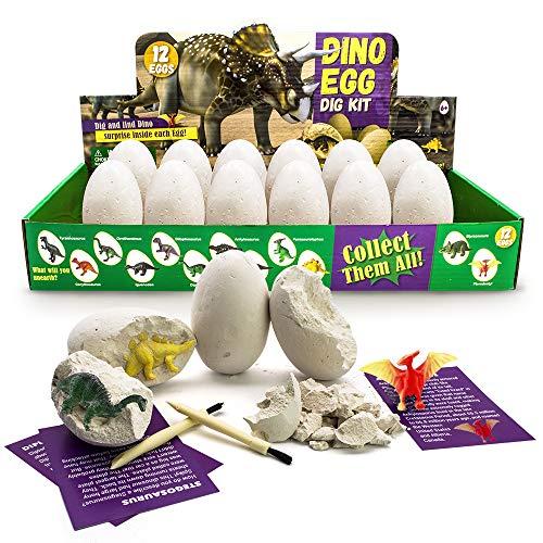 JoaSinc Kit de Excavación de Huevo de Dinosaurio de 12, Descubre 12 Dinosaurios Diferentes, Fiesta de Pascua de Juguete Stem Juguetes Educativos para Niños de 3 Años y mayores Regalo de Niños Niñas