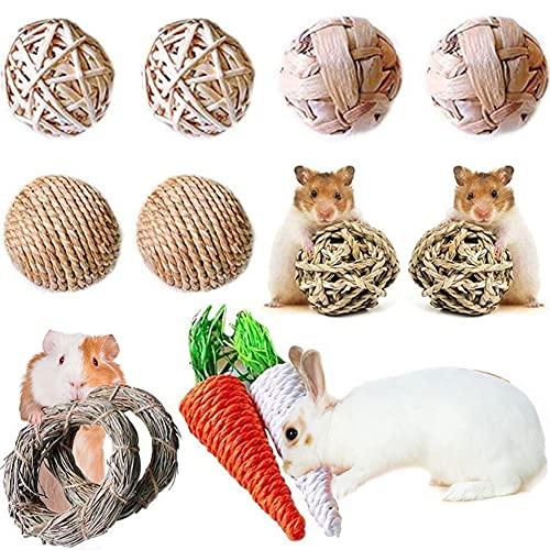 YANGWX 12 pièces Naturel Petits Animaux de Compagnie Jouets à Croquer,Jouets de Cochon d'Inde, Jouets de Carotte à mâcher pour Hamster