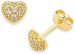 Bevilles 9ct Yellow Gold Silver Infused Childrens Heart Earrings O184160-GOS-Y Stud