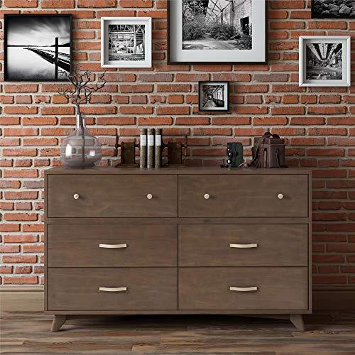 Novogratz Otis 6 Drawer Dresser, Dark Walnut