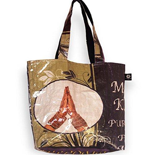 Shakti Milan | Handgefertige Henkeltasche Namaste | Upcycled aus Alten Reis- oder Linsensäcken | Made in Nepal
