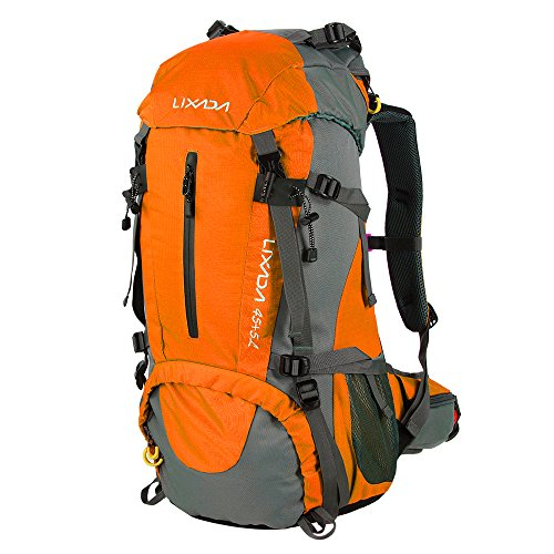 Lixada Mochila de Senderismo 50L con Cubierta Impermeable Mochila de Marcha Trekking Camping Deporte Al Aire Libre ⭐