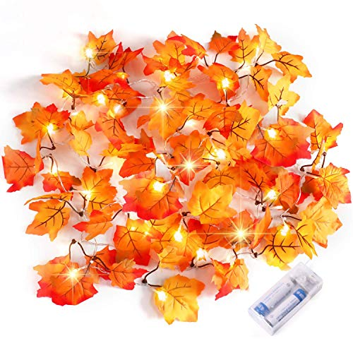 Idebris Decoratieve verlichting slinger voor binnen en buiten, Halloween-decoraties, Halloween-party, herfstblad, slinger, waterdicht esdoornblad lichtkettingen - 2 x 20 LED, 19,7 voet