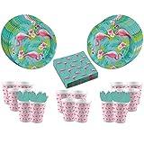 Nein Flamingo Paradise - 52-Teiliges Partyset - Teller Becher Servietten - Partydekoration