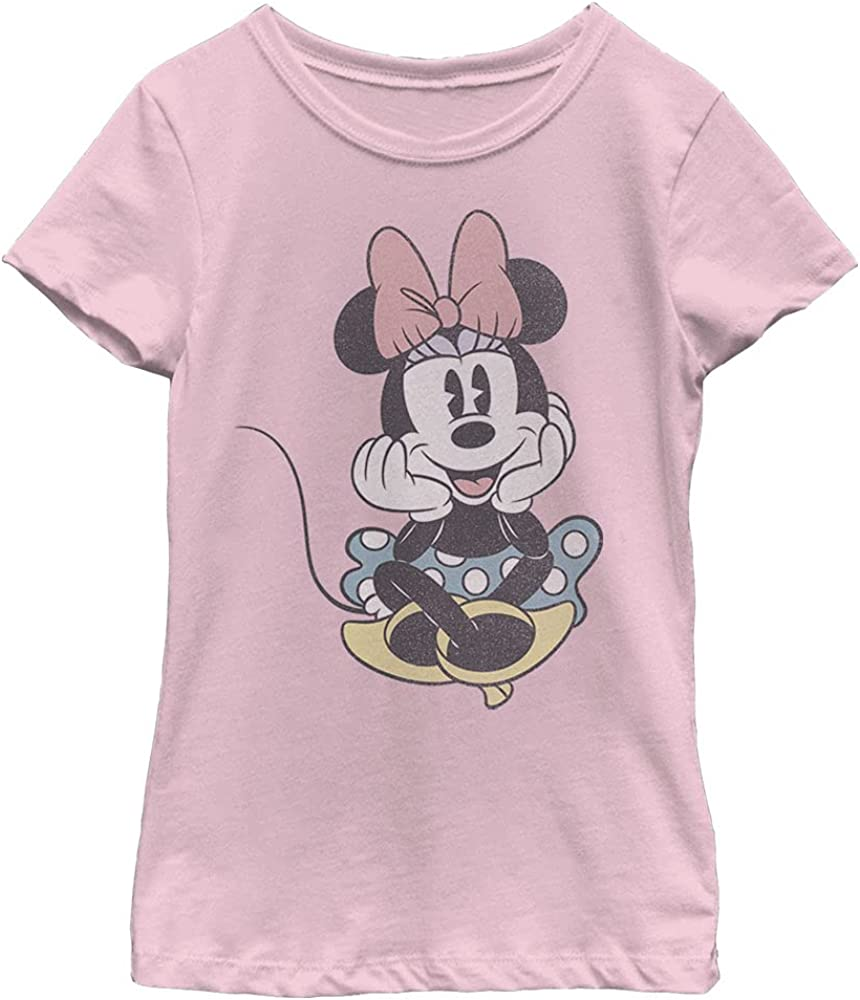 Disney Characters Minnie Sit Girl's Solid Crew Tee