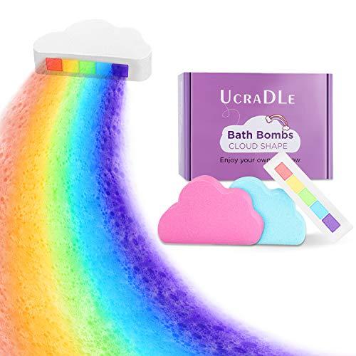 Ucradle Regenbogen Badebomben, Bio-Handwerk Regenbogen blasen Badewannen Geschenkset, 3 Badewannenbomben mit natürlichen und organischen Zutaten(3 Stücke)