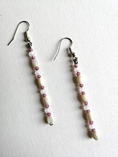 PENDIENTES blanco, crema, rosa - piedras duras, nácar, semicristales - colgantes boho chic - idea regalo para mujer - hecho a mano