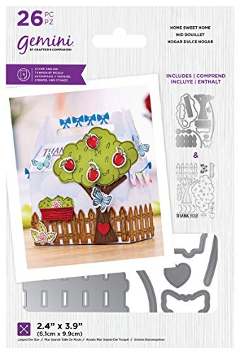 Crafters Companion GEM-STD-HSH Gemini – transparenter Acrylstempel und Metallschablonen-Set Sweet Home, silber, Einheitsgröße