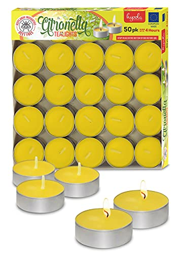 Tealight Citronella Candles - Anti Mosquito Candle - 4 Hour Burn - 50 Pack - DEET Free
