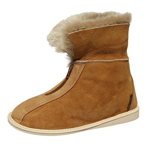 Damen & Herren Lammfell Hausschuhe Alaska Cognac Fellschuhe mit Reißverschluss 100% Merino Schaffell für Wohlgefühl - warm, atmungsaktiv Schuhgröße 46
