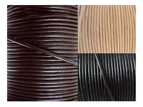 AURORIS - Lederband rund Ø 1 mm - Länge/Farbe wählbar - Variante: 2m / dunkelbraun
