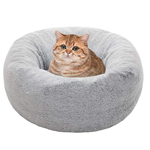 EXQ Home Cat Bed Cat Beds for Indoor Cats Washable Marshmallow Cat Bed, 21 inch Calming Pet Bed for Cats or Small Dogs,Fluffy Cat Bed Anti-Slip & Water-Resistant Bottom