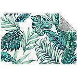 Alfombra de entrada absorbente de hojas de palmas tropicales,...
