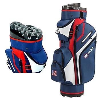 RAM Golf Premium Cart Bag with 14 Way Molded Organizer Divider Top - USA Flag