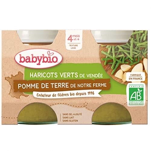 Babybio - Petits Pots Pomme de Terre Haricots Verts de Vendée 2x130 g - 4+ Mois - BIO