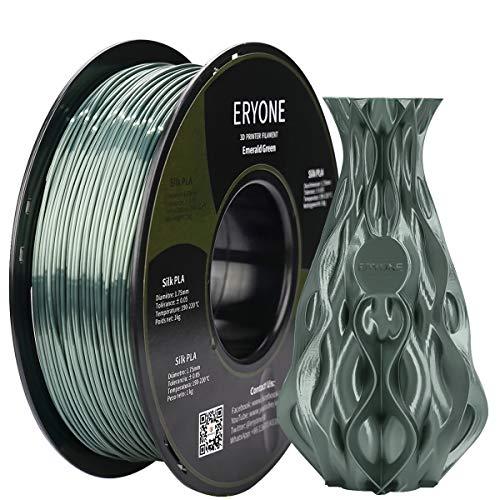 ERYONE Zijde PLA Filament voor 3D Printer, 1.75mm, Tolerantie: ¡À0.03mm, 1kg (2.2LBS)/Spool, Dunkelgr¨¹n