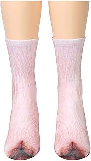 happyhouse009, happyhouse009 Invierno de las Mujeres Acogedor Piso calcetines para caminar, Calienta cama calcetines, Impresión 3D de Simulación de Animal Pata de Pezuñas Adultos Niños Elásticos Calcetines