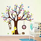 Monkey, Squirrel Jungle Animals and Tree Sticker