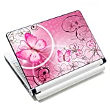 Laptop Skin Sticker Decal,12' 13' 13.3' 14' 15' 15.4' 15.6' Laptop Skin Sticker Protector Cover for Toshiba Hp Samsung Dell Apple Acer Leonovo Sony Asus Laptop Notebook (Pink Butterflies & Flowers)