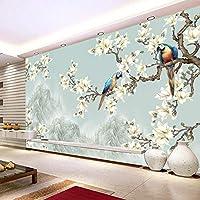 チャイニーズスタイルシンプルでエレガントなフラワーバードフィギュア3D壁紙リビングルームテレビソファ研究背景壁壁画家の装飾-130x60cm