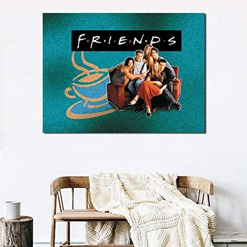 YuanMinglu Amis TV Show Affiche Assis sur Le Canapé Toile Art Affiche Imprimer Mur Photo Moderne Famille Chambre Décoration Accessoires sans Cadre Peinture 24x30 cm