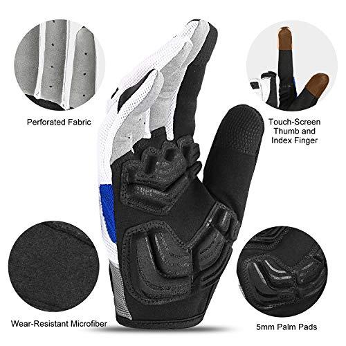Inbike Herren Fahrradhandschuhe Mit Gel vollfinger MTB Handschuhe für das Radfahren(Blau-Lang,L) - 2