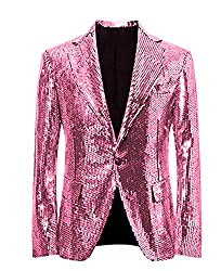 Pink/C Splendid Sequins Lapel Tuxedo Jacket