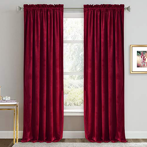 Velvet Curtains 96 inches - Room Darkening Curtains for Sliding Door Thermal Insulated Draperies Energy Efficient Home Decor Soft Backdrop Curtains for Home Theater, 52 x 96 inch, Ruby Red, 2 Panels