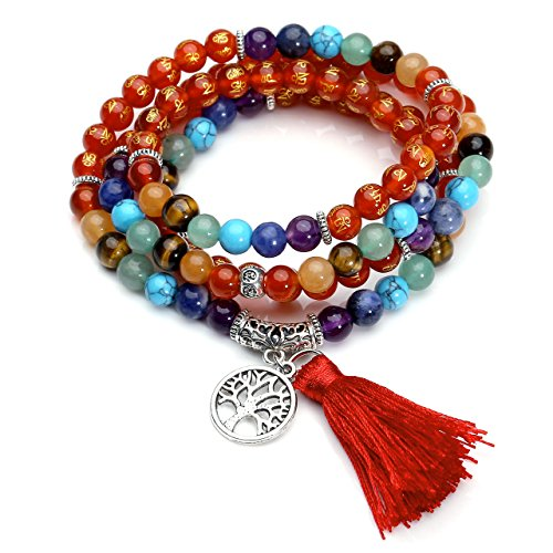 Top Plaza 7 Chakra Mala Prayer Beads 108 Meditation Healing Multilayer Bracelet/Necklace W/Tree of Life Tassel Charm(Six True Word Mala Beads-Red Agate)