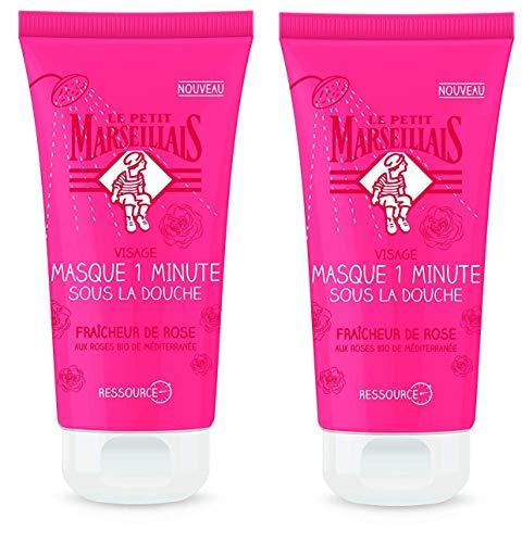 Le Petit Marseillais Masque 1 Minute sous la Douche Fraicheur de Rose 75 ml - Lot de 2