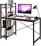 Vanimeu Brown Walnut Computer Desk with 4 Tier Shelves Bookcase PC Gaming Table for Home Office (Brown)
