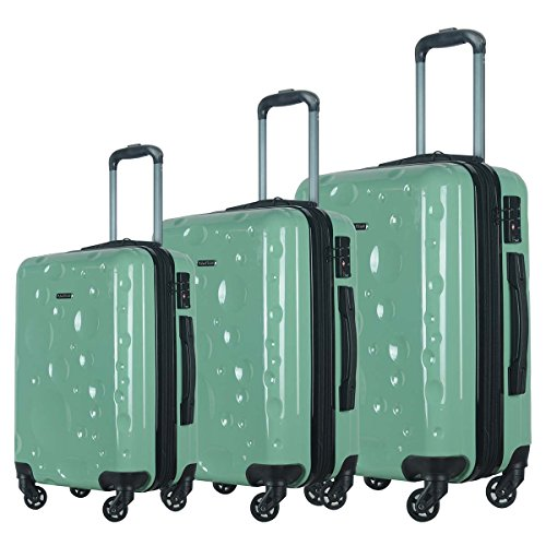 HyBrid & Company Luggage Set Durable Lightweight Spinner Suitcase LUG3-628, 3 Pieces, Mint