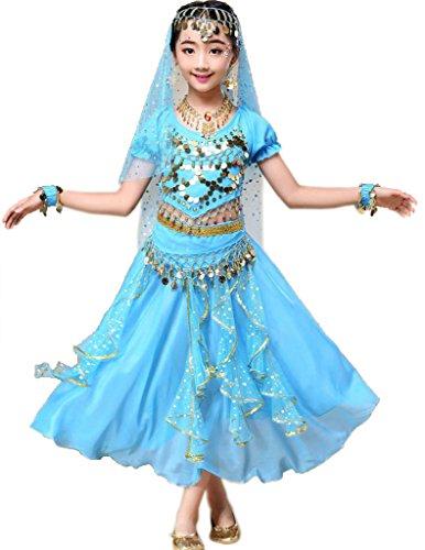 Sari indio de Bollywood, vestido oriental, disfraz de Halloween o carnaval, de Astage, color azul celeste, tamaño M Fits 9-11 years