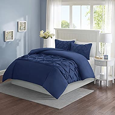 Comfort Spaces Full/Queen Duvet Cover - Cavoy - Navy Fashion Bedding Set 3 Pieces Includ [ 1 Cover For Duvet, 2 Shams ] Duvet Sets With Corner Ties - Ultra Soft Microfiber