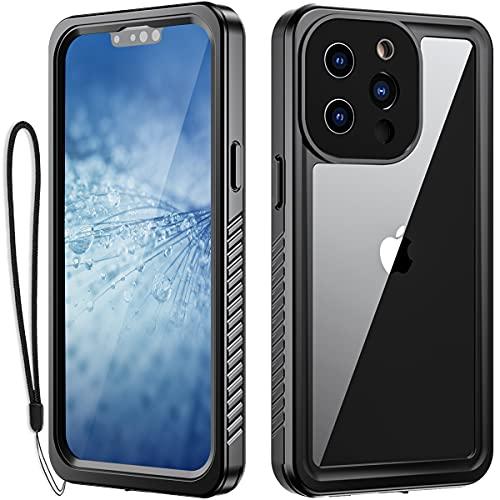 Custodia impermeabile compatibile con IPhone 13 Pro Built-in Screen Protector Full Heavy Duty Protection antiurto anti-graffio anti-sporco Dropproof Protection Apple13 Pro 6.1 Pollici (nero)
