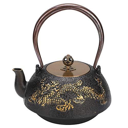Tetera clásica del hierro fundido del dragón doble 1.2L, lujo elegante, buen ornamento | regalo | colección para el anciano, socio comercial, familia.